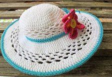 Turkuaz Beyaz  Örgü Şapka
