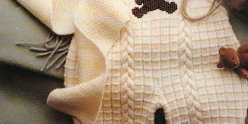 Saç örgülü ayıcıklı örgü bebek tulum modeli