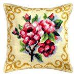 Kırmızı Çiçekli Kanaviçe Kırlent Örnekleri