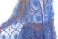 Mavi Renkli Kasnak İşi Şal Modeli