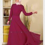 Mor Renkli Tesettür Abiye Modeli