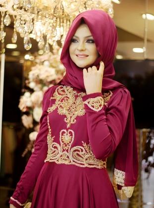 Muhteşem Pembe Renkli Abiye Şal Modeli