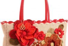 çiçek motifleri işlemeli bayan çanta modelleri