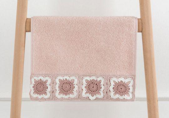 Fleur Kroşeli Havlu Pudra 30x46cm