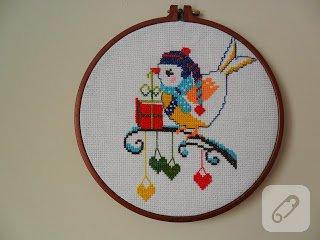 Kanaviçe kuş – kasnak pano